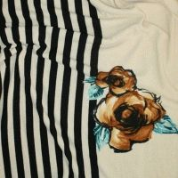 Трикотаж Ангора купон полоска черно/беж цветок